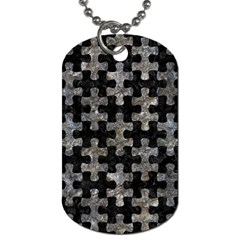 Puzzle1 Black Marble & Gray Stone Dog Tag (two Sides) by trendistuff