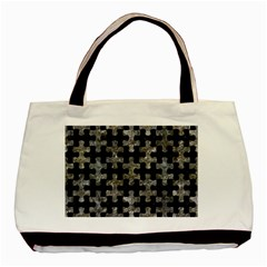 Puzzle1 Black Marble & Gray Stone Basic Tote Bag