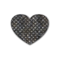 Scales2 Black Marble & Gray Stone (r) Rubber Coaster (heart)  by trendistuff