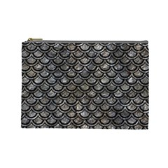 Scales2 Black Marble & Gray Stone (r) Cosmetic Bag (large)  by trendistuff