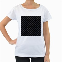 Scales3 Black Marble & Gray Stone Women s Loose Fit T Shirt (white)