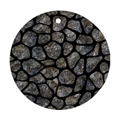 Skin1 Black Marble & Gray Stone Round Ornament (two Sides) by trendistuff