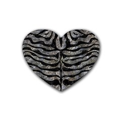 Skin2 Black Marble & Gray Stone (r) Rubber Coaster (heart)  by trendistuff