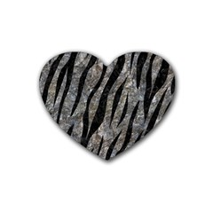 Skin3 Black Marble & Gray Stone (r) Rubber Coaster (heart)  by trendistuff