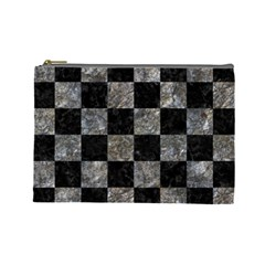 Square1 Black Marble & Gray Stone Cosmetic Bag (large)  by trendistuff