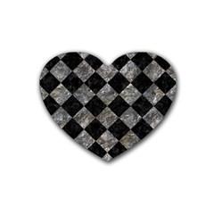 Square2 Black Marble & Gray Stone Rubber Coaster (heart)  by trendistuff