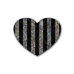 Stripes1 Black Marble & Gray Stone Rubber Coaster (heart)  by trendistuff