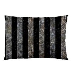 Stripes1 Black Marble & Gray Stone Pillow Case by trendistuff