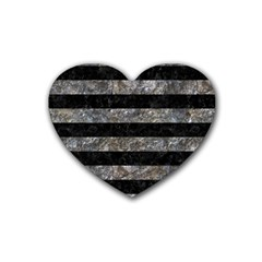 Stripes2 Black Marble & Gray Stone Rubber Coaster (heart)  by trendistuff