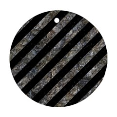 Stripes3 Black Marble & Gray Stone Ornament (round) by trendistuff