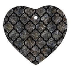 Tile1 Black Marble & Gray Stone (r) Ornament (heart) by trendistuff