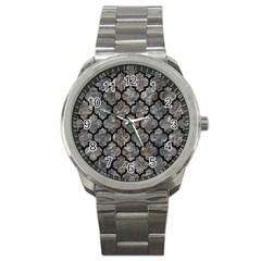 Tile1 Black Marble & Gray Stone (r) Sport Metal Watch by trendistuff