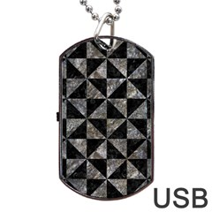 Triangle1 Black Marble & Gray Stone Dog Tag Usb Flash (one Side) by trendistuff