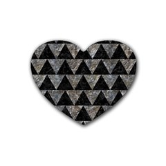 Triangle2 Black Marble & Gray Stone Rubber Coaster (heart)  by trendistuff