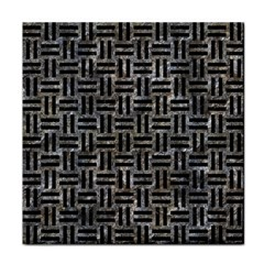 Woven1 Black Marble & Gray Stone (r) Tile Coasters by trendistuff