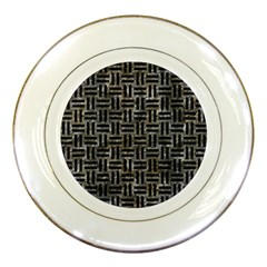 Woven1 Black Marble & Gray Stone (r) Porcelain Plates by trendistuff