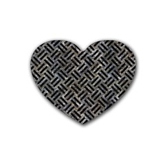 Woven2 Black Marble & Gray Stone (r) Rubber Coaster (heart)  by trendistuff