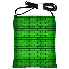 Brick1 Black Marble & Green Brushed Metal (r) Shoulder Sling Bags by trendistuff