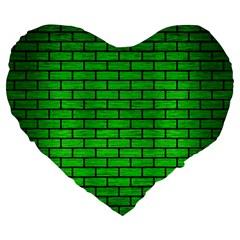 Brick1 Black Marble & Green Brushed Metal (r) Large 19  Premium Heart Shape Cushions