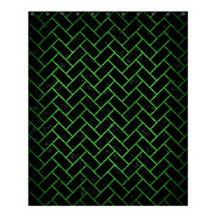 Brick2 Black Marble & Green Brushed Metal Shower Curtain 60  X 72  (medium)  by trendistuff