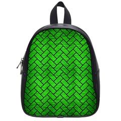 Brick2 Black Marble & Green Brushed Metal (r) School Bag (small)
