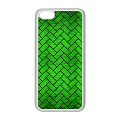 Brick2 Black Marble & Green Brushed Metal (r) Apple Iphone 5c Seamless Case (white) by trendistuff