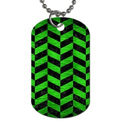 Chevron1 Black Marble & Green Brushed Metal Dog Tag (two Sides) by trendistuff