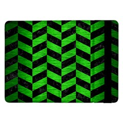 Chevron1 Black Marble & Green Brushed Metal Samsung Galaxy Tab Pro 12 2  Flip Case by trendistuff