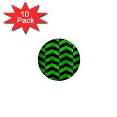 Chevron2 Black Marble & Green Brushed Metal 1  Mini Magnet (10 Pack)  by trendistuff
