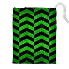 Chevron2 Black Marble & Green Brushed Metal Drawstring Pouches (xxl) by trendistuff