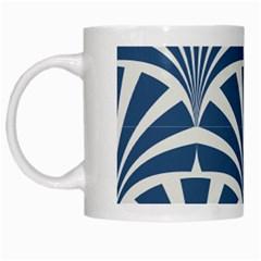 Teal,white,art Deco,pattern White Mugs by 8fugoso