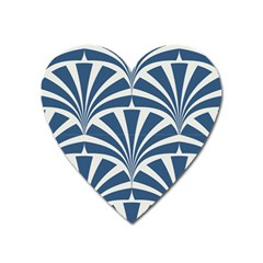 Teal,white,art Deco,pattern Heart Magnet by Love888