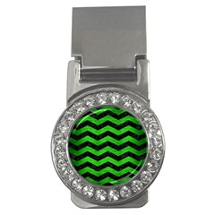 Chevron3 Black Marble & Green Brushed Metal Money Clips (cz)  by trendistuff