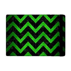 Chevron9 Black Marble & Green Brushed Metal Ipad Mini 2 Flip Cases by trendistuff