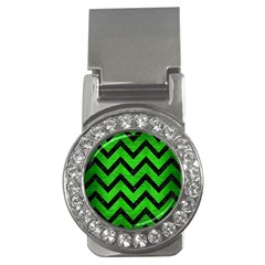 Chevron9 Black Marble & Green Brushed Metal (r) Money Clips (cz)  by trendistuff