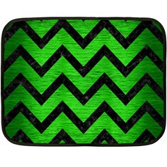 Chevron9 Black Marble & Green Brushed Metal (r) Fleece Blanket (mini) by trendistuff
