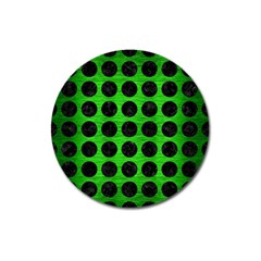 Circles1 Black Marble & Green Brushed Metal (r) Magnet 3  (round) by trendistuff