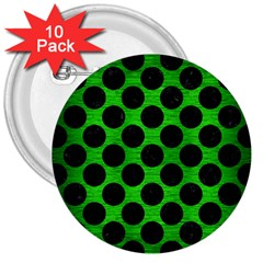 Circles2 Black Marble & Green Brushed Metal (r) 3  Buttons (10 Pack)  by trendistuff
