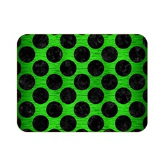 Circles2 Black Marble & Green Brushed Metal (r) Double Sided Flano Blanket (mini)  by trendistuff