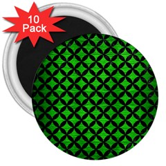 Circles3 Black Marble & Green Brushed Metal (r) 3  Magnets (10 Pack)  by trendistuff