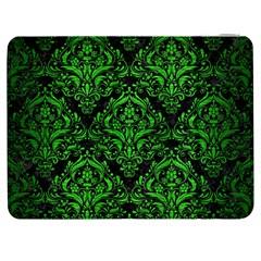 Damask1 Black Marble & Green Brushed Metal Samsung Galaxy Tab 7  P1000 Flip Case by trendistuff