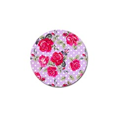 Shabby Chic,pink,roses,polka Dots Golf Ball Marker by Love888