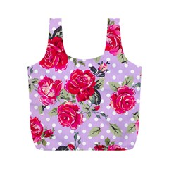 Shabby Chic,pink,roses,polka Dots Full Print Recycle Bags (m)  by 8fugoso