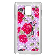 Shabby Chic,pink,roses,polka Dots Samsung Galaxy Note 4 Case (white) by 8fugoso