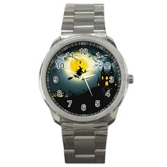 Halloween Landscape Sport Metal Watch by Valentinaart