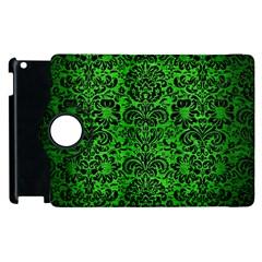 Damask2 Black Marble & Green Brushed Metal (r) Apple Ipad 2 Flip 360 Case by trendistuff