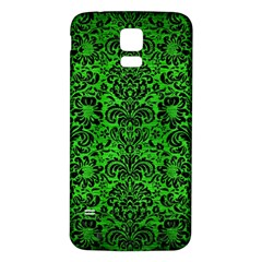 Damask2 Black Marble & Green Brushed Metal (r) Samsung Galaxy S5 Back Case (white) by trendistuff