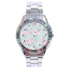 Shabby Chic,pink,roses,polka Dots Stainless Steel Analogue Watch by 8fugoso