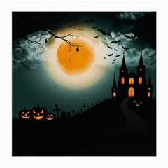 Halloween Landscape Medium Glasses Cloth (2 Side) by Valentinaart