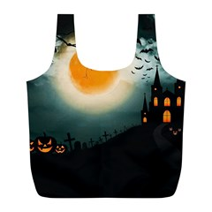 Halloween Landscape Full Print Recycle Bags (l)  by Valentinaart